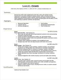 resume exles for fast food work resumes exles fast food server resume exle entire