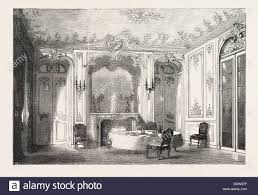 dining room in french french dining room in louis xv style engraving 1882 stock photo