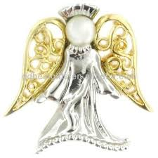 christian lapel pins 3d angel golden silver wholesale christian lapel pins with peal