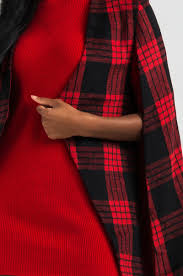 akira black label sleeveless heavyweight plaid cape in red black