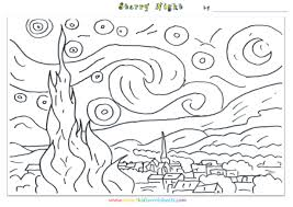 starry night coloring page coloring pages online