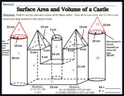 area u0026 volume unit 11 surface area and volume of a castle freebie