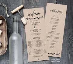 Printed Wedding Programs Printable Wedding Program Template Order Of Service Rustic