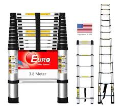 Meters To Feet by Euro Telescopic Aluminium Ladder 3 8 Mtr 13 Feet Stores At 2 9