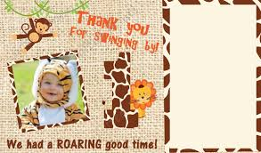 thank you card for you card jungle safari theme