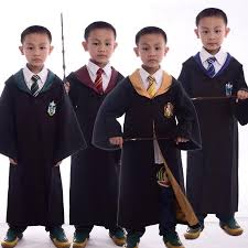 halloween costume with cape kids harry potter robe with necktie gryffindor hufflepuff
