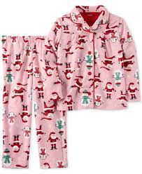 s 2 pc santa print pajama set toddler 2t 5t