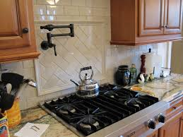 decorating brown kitchen cabinets with white daltile backsplash