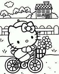 kitty bicycle coloring pages cartoon coloring pages girls