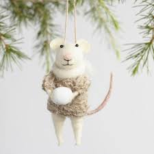 felted wool mouse with snowball ornaments set of 3 world market