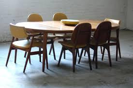 mid century round teak dining table burke modern tulip base set