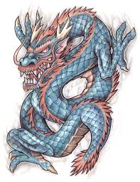 blue dragon and skull tattoo design photos pictures and