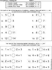 inequalities worksheets and books to print enchanted learning