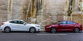 small mazda hyundai elantra v mazda 3 small sedan comparison technology