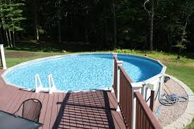 pool decking when you have an above ground swimming pool there
