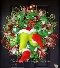the grinch wreath by dreamdesignanddecor on etsy grinch