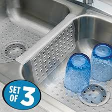 clear plastic sink mats amazon com mdesign kitchen sink protector mat pad set quick