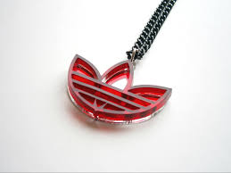 red necklace pendant images Adidas necklace lasercut mirror and red plastic adidas pendant jpg