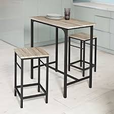 table haute de cuisine avec tabouret sobuy ogt10 n set de 1 table 2 tabourets ensemble table de bar