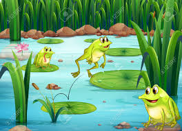 illustration of many frogs in the pond royalty free cliparts
