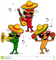 cartoon sombrero cartoon mariachi peppers stock vector image 77336482