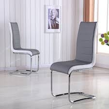 Gray Leather Dining Chairs Furniture Home Open Back Dining Chair Onyx Vanilla Frontdining