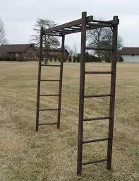 rustic wooden ladder arbor three 7 rung ladders
