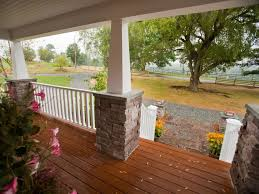 Pillars And Columns For Decorating Exterior Delightful Front Porch Decoration Using Square Grey Stone
