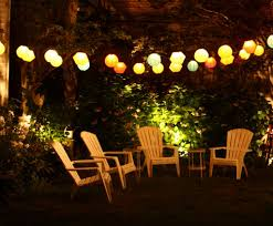 Hanging String Lights by Patio Doors Outdoor Lighting On Summer Night Out Door Patio