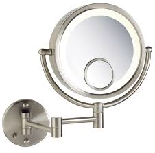 wall mounted makeup mirror with lighted battery lighting wall mounted lighted makeup mirror 10x cordless lowes
