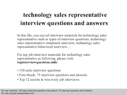 Technology Sales Resume Examples by Technical Sales Representative Interview Questions And Answers