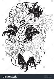 hand drawn koi carp fish peony stock vector 681356377 shutterstock