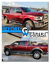 dodge ram chrome fender vinyl wrap before after before