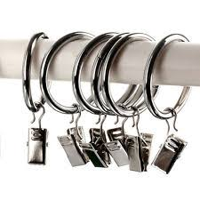 Curtain Hooks With Clips Ikea Curtain Rings W Clips 10 Pcs Silver Gray Gon 2 Packages Ebay
