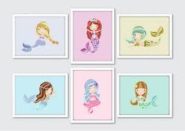 Mermaid Nursery Decor Mermaid Nursery Prints Set Of 6 Mermaid Baby Shower