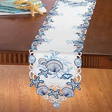 blue and white table runner coastal table runners amazon com