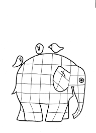 Patchwork Elephant Book - elephant and birds coloring page designer coloring pages