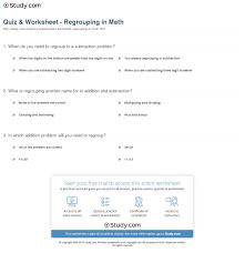 Regrouping Worksheets Quiz U0026 Worksheet Regrouping In Math Study Com