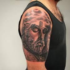 Jesus Cross Tattoos On - jesus andresgomeztattoo ancientritualstattoo shading sacred