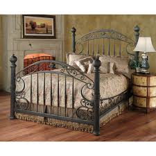 cream metal bed frame doff black iron bed frame with curving head and foot board