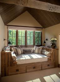 window nook decorating ideas family room rustic with under bed