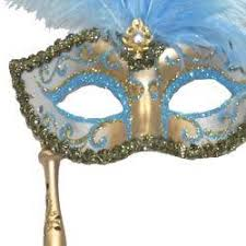 gold masquerade mask gold venetian masquerade mask on a stick with large light blue