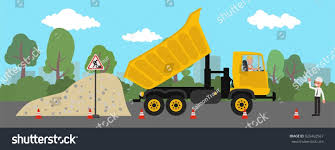 dump truck unloads rubble on construction stock vector 626462567