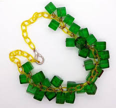 green drop necklace images Bakelite green prystal cubes celluloid chain drop necklace jpg
