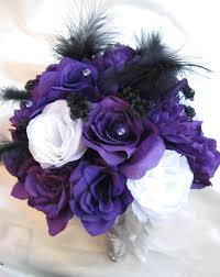 purple bouquets wedding bouquet bridal silk flowers purple white silver black