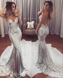 2017 silver sequin evening dresses backless prom dresses plus