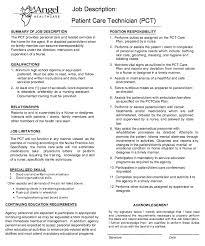 Personal Care Assistant Job Description For Resume by Patient Care Technician Job Description Http Resumesdesign Com