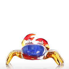 Animal Figurines Home Decor Best And Cheap Multicolored Tooarts Flower Crab Gift Glass