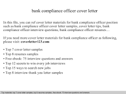bank compliance officer cover letter