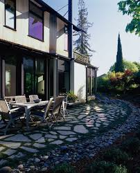 Patio Rocks Paver With River Rock Patio Contemporary With Patio Furniture